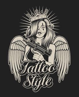 タトゥーチカーノスタイルで銃を持つ女の子のイラスト。シャツのプリントや他の多くの用途に最適です。