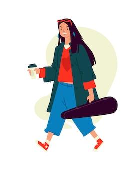 Иллюстрация девушки с кофе капучино.