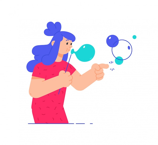 Иллюстрация девушка с мыльных пузырей.