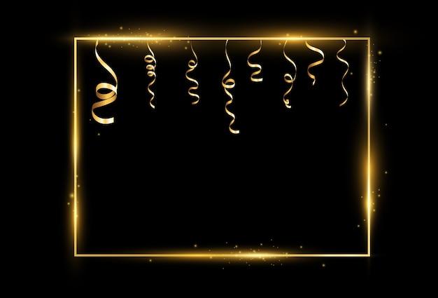 透明な背景のゴールドフレームのイラスト。