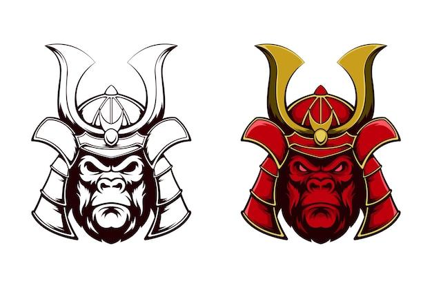 Иллюстрация дизайна гориллы с самурайским шлемом. идеально подходит для спортивных логотипов, игр, футболок.
