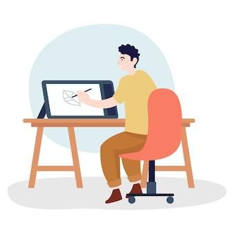 ペンタブを使用して描画するグラフィックerのイラスト。ポスター、バナーなどの簡単な編集
