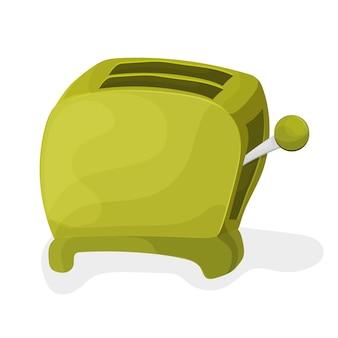 白い背景の上の緑の漫画トースターのイラスト