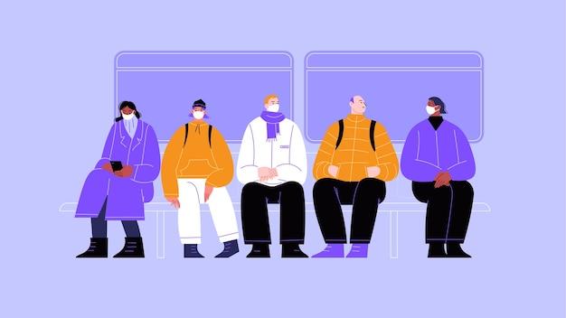 公共交通機関の人々のグループのイラスト。4人のキャラクターがマスクを着用し、1人はマスクを着用していません。