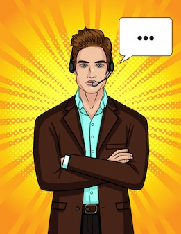 スーツとヘッドフォンの男のイラストがオンライン会話をリードしています。