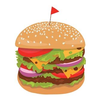 ハンバーガーのイラスト。様式化されたファーストフード。屋台の食べ物。アイコン。