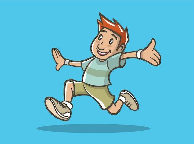 실행하는 행복 한 소년의 그림입니다.