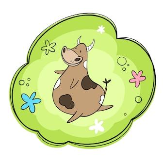牧草地で踊る幸せな牛のイラスト。花と牧草地。漫画、手描きスタイル
