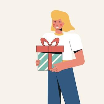 Иллюстрация счастливая девушка держит подарок в руках.