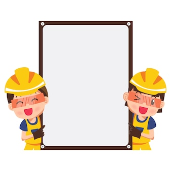 幸せな笑みを浮かべて建設労働者と空白のバナーを持つポインターのイラスト