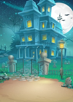 Иллюстрация дома с привидениями в лунную ночь