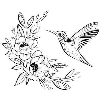 ハチドリのイラスト。様式化された飛ぶ鳥。リニアアート。