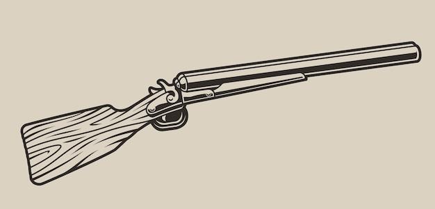 明るい背景に狩猟用ライフルのイラスト。孤立した