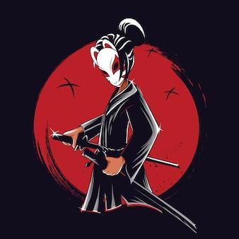 Иллюстрация японской женщины-самурая