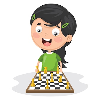 Illustration Of A Kid Playing Chess