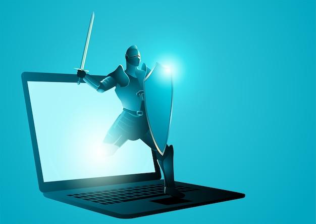 ノートパソコンの画面から現れる盾と剣を持つ騎士のイラスト。アンチウイルス、保護、コンピューターセキュリティの概念