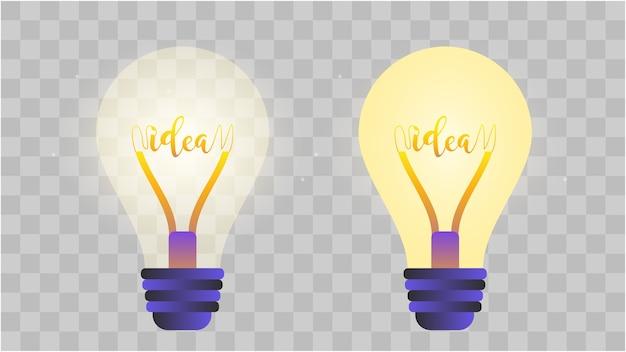 Иллюстрация лампы. прозрачная лампа. концепция идеи и бизнеса.