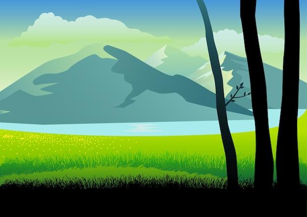 Иллюстрация пейзажа гор и травы