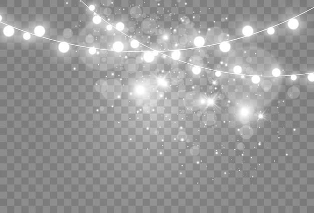 透明な背景に明るいガーランドのイラスト。