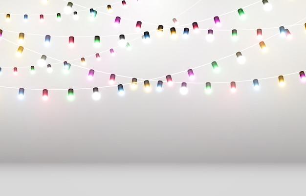 Иллюстрация световой гирлянды на прозрачном