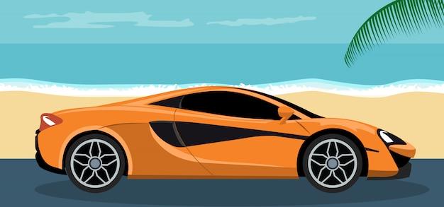 夏のビーチで高級スポーツ車のイラスト