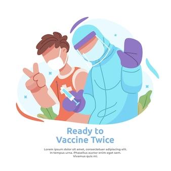 2回目のワクチンを投与する男性のイラスト