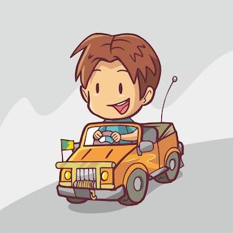Иллюстрация человека за рулем оранжевой машины. рисованное искусство