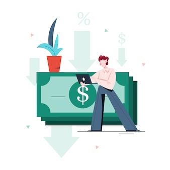 개인 대출을 받고 남자의 그림입니다. 대출의 개념. 은행에서 돈을 빌리는 사람.