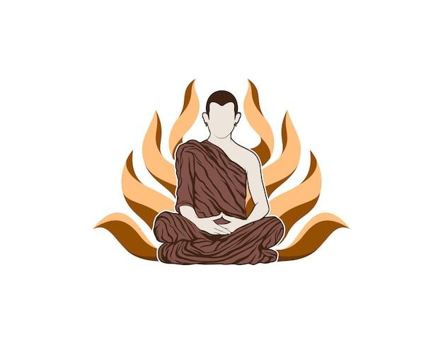 Иллюстрация человека, медитирующего на фоне лотоса