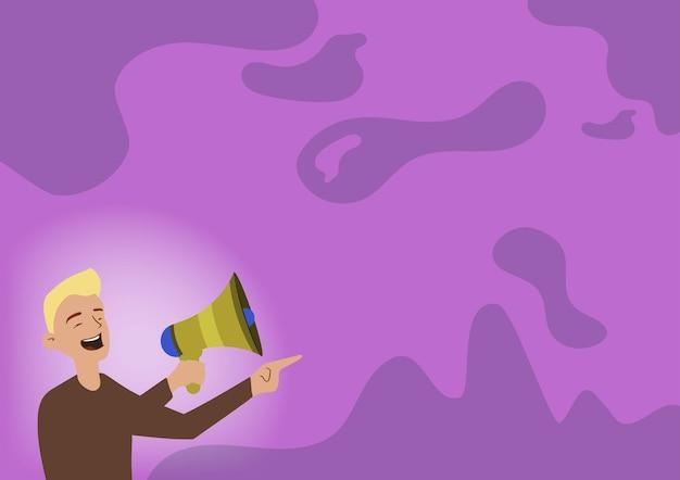 Иллюстрация человека указывая в сторону, держащего мегафон, делая новое объявление. джентльмен привлекает внимание к другой стороне, используя громкоговоритель, громко представляя недавнюю рекламу.