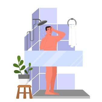 朝または寝る前にシャワーを浴びている男のイラスト。バスルームにいる男性は、体と髪を洗います。漫画スタイルのイラスト