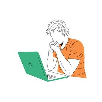 Иллюстрация человека, работающего за ноутбуком