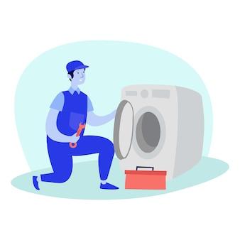 壊れた洗濯機の排気システムを修理する整備士のイラスト