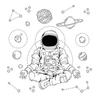 瞑想する宇宙飛行士のイラスト