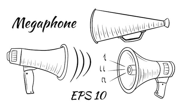 확성기, 시끄러운 스피커의 그림입니다. 만화 스타일. 흰색 배경 위에 격리.
