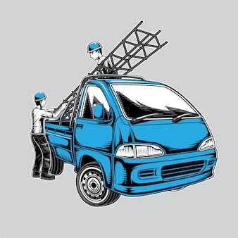 ミニピックアップトラックと建物のフレームワーカーのイラスト