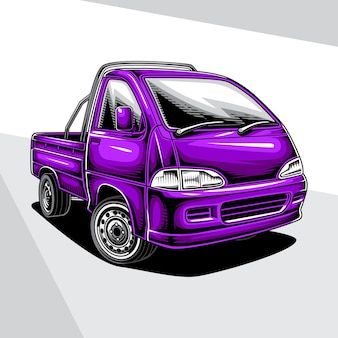 ミニピックアップトラックのイラスト