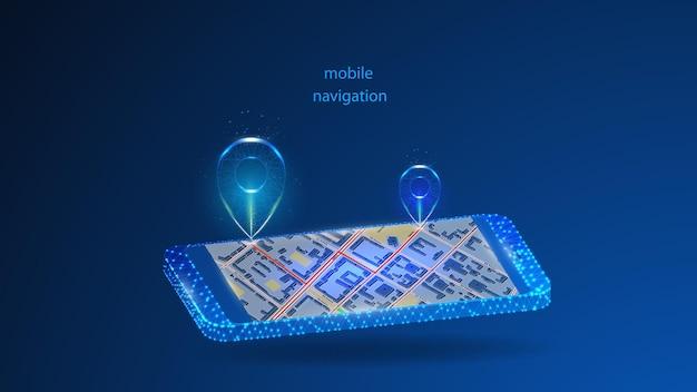 모바일 탐색을위한 응용 프로그램이있는 휴대 전화의 그림.