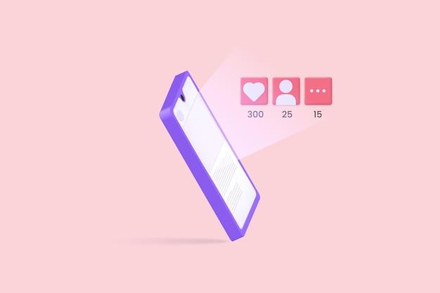 새로운 팔로워와 댓글을 좋아하는 소셜 미디어 게시물이 있는 휴대폰 그림