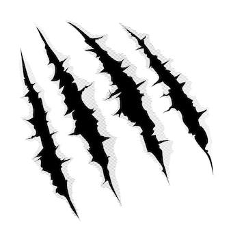 괴물 발톱 또는 손 스크래치의 그림 또는 흰색 배경을 통해 찢어