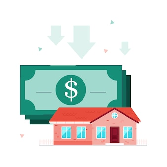 住宅ローンのイラスト。クレジット、ローンの概念。