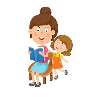 本を読んでいる母と子の女の子のイラスト