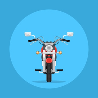 バイクのイラスト、正面図、、フラットスタイルのイラスト