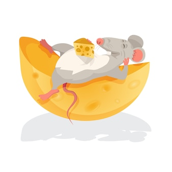 Иллюстрация мыши, сидящей над сыром