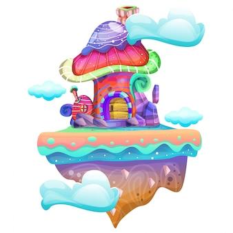 버섯 집의 그림 프리미엄 벡터
