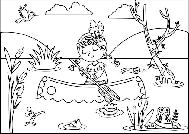 Иллюстрация девушки коренных американцев гребет на каноэ по реке, черно-белое