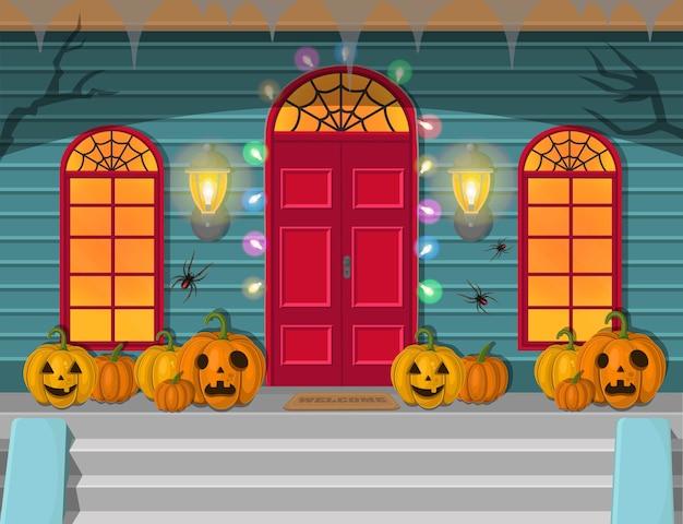 夜のハロウィーンのドアと窓のイラスト。休日の装飾。