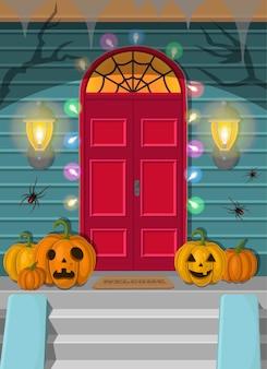 夜のハロウィーンのドアのイラスト。休日の装飾。
