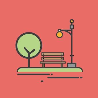 Иллюстрация скамейке в парке