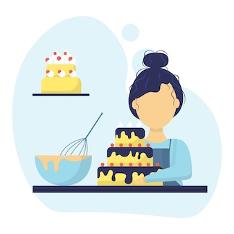 케이크와 함께 제빵사 소녀의 그림 여자는 초콜릿 플랫 스타일로 케이크를 만들었습니다